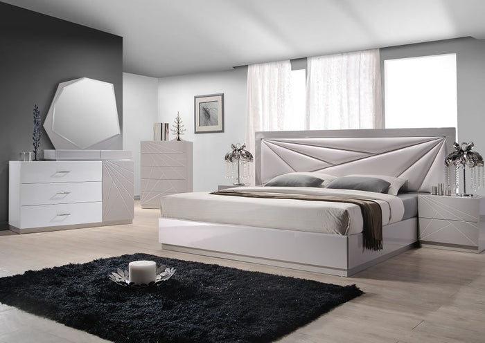 Flora Modern Platform Bed with Unique Padded Headboard