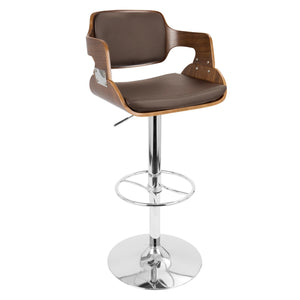 Fiora Adjustable Brown Leatherette Barstool