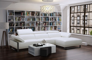 Florian Leather Sectional with Adjustable and Arms and Headrests