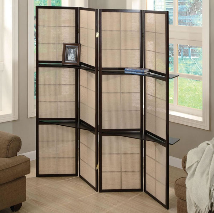Four Panel Room Divider with Shelves