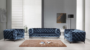 Glinda Tufted Fabric Living Room Collection in Purple or Blue