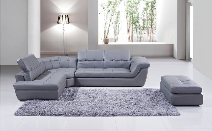 Reese Italian Leather Sectional in Tan, Grey or Brown