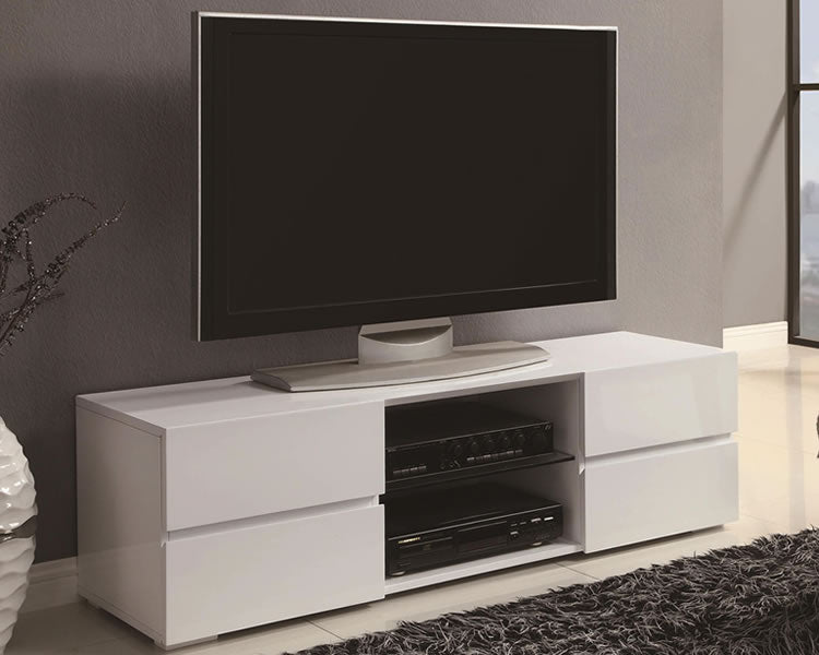 Alexa TV Stand in White or Black High Gloss Finish