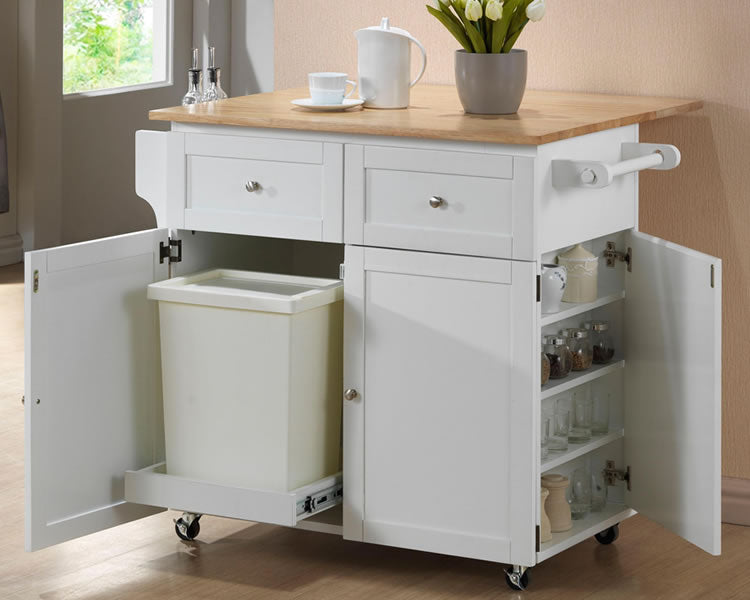Kitchen Cart with Leaf, Trash Compartment & Spice Rack