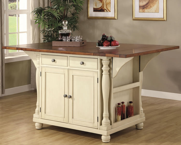 Cottage Style Kitchen Island in 2 Finishes