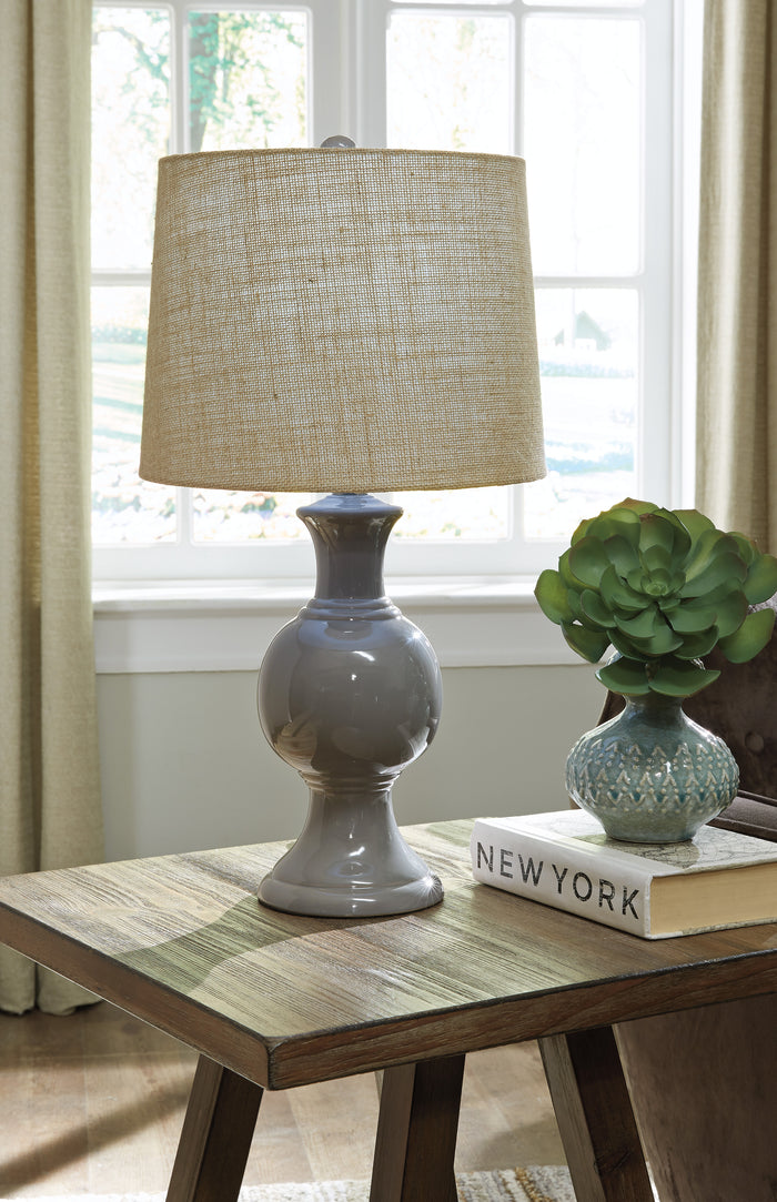 Maggie Grey Glazed Ceramic Table Lamp