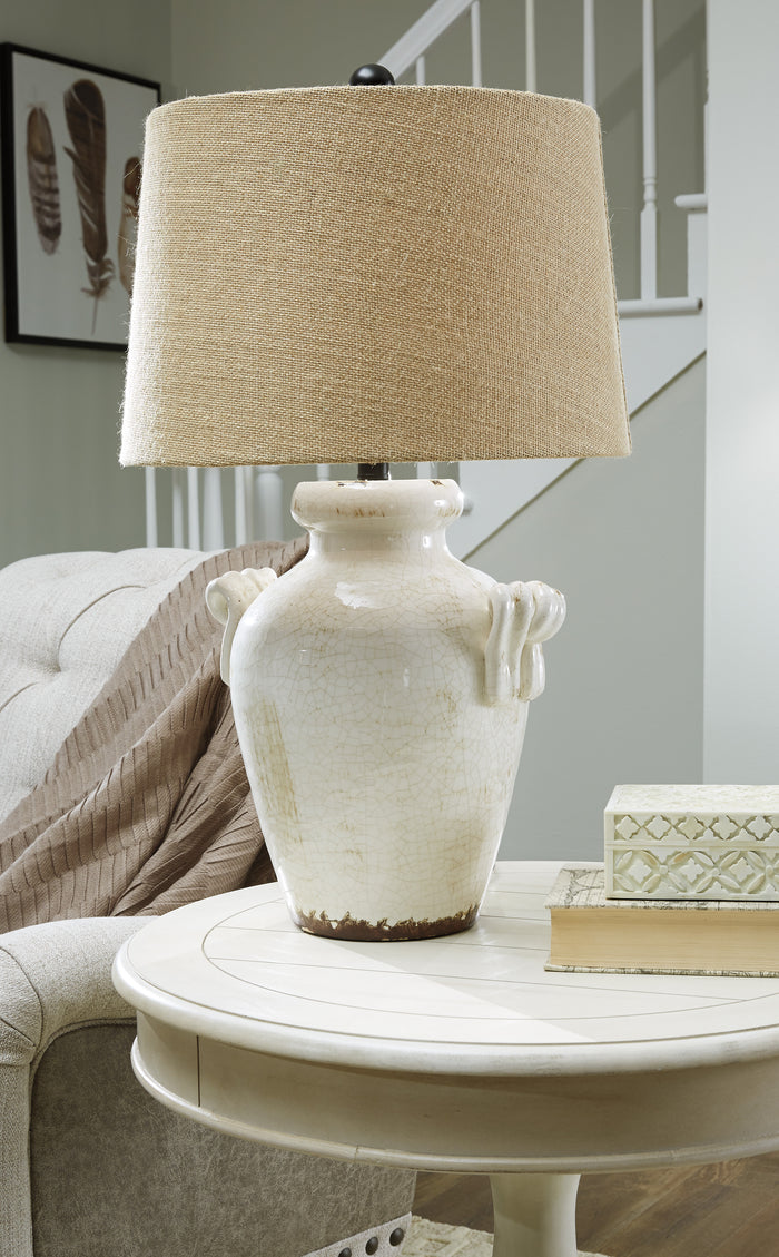 Vintage Crackle Glazed Ceramic Table Lamp