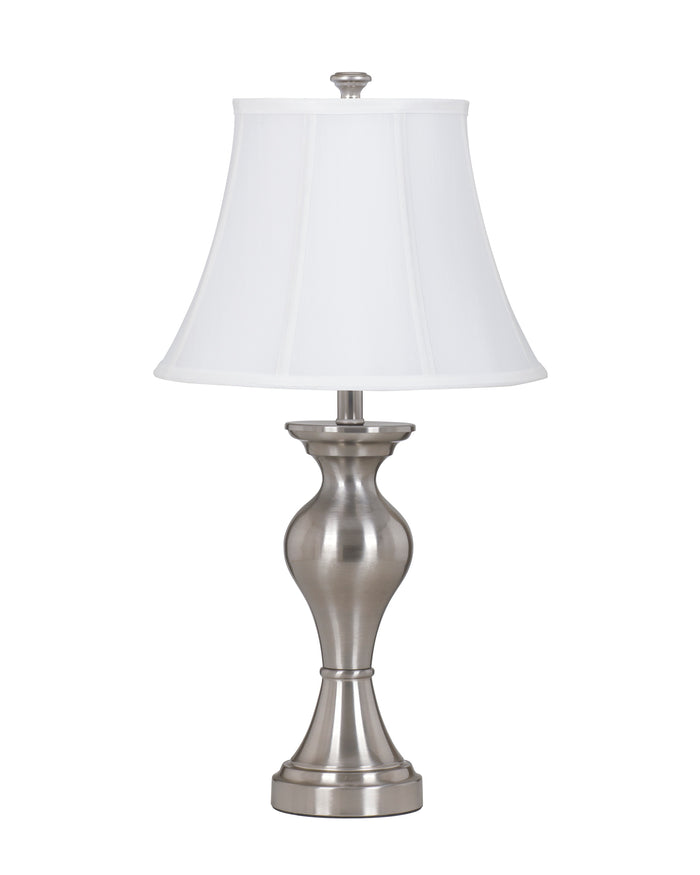 Brushed Silver Metal Table Lamp with Fabric Bell Shade