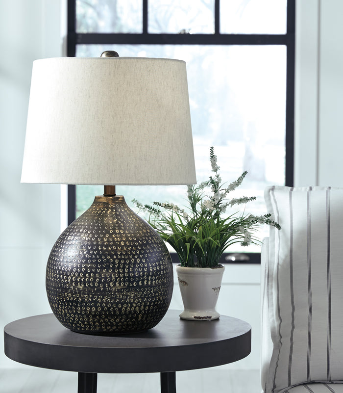 Urban Industrial Black & Gold Metal Table Lamp