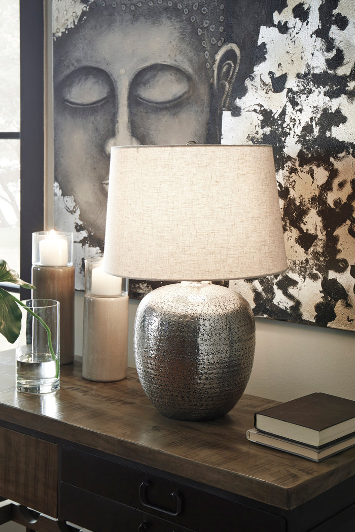 Antique Silver Hammered Aluminum Table Lamp