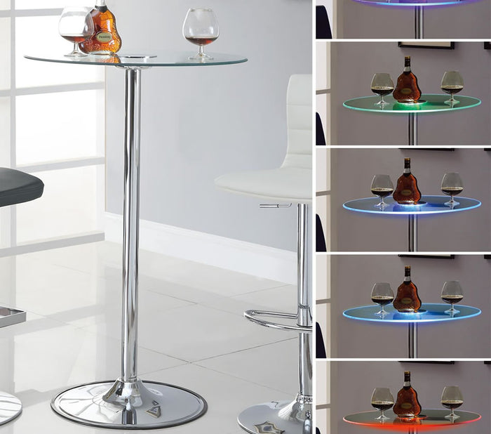 "Modern LED 28"" Round Glass Bar Table"