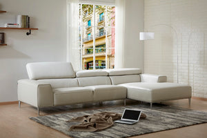 LeClaire Light Grey Leather Sectional