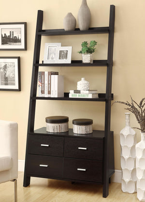 Leaning Ladder Bookshelf with 2 Drawers