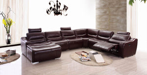 Contemporary Reclining Leather Sectional with Removable Headrests