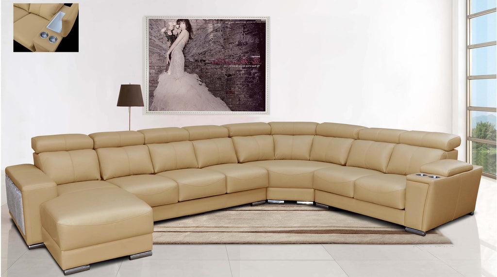 Marvin Beige Leather Sectional with Sliding Seats