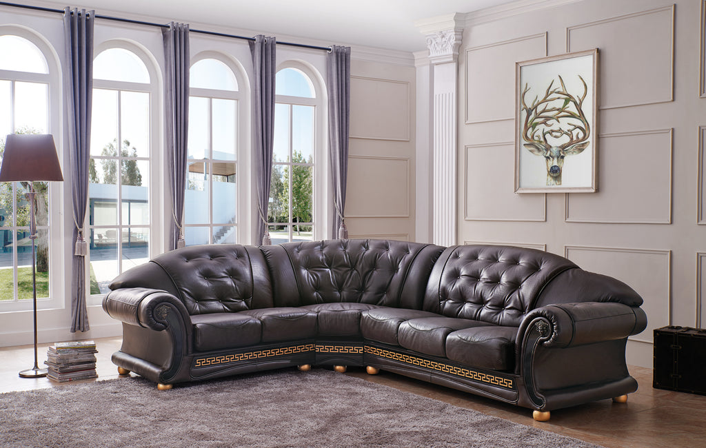 Polo Tufted Leather Sectional in 4 Color Options