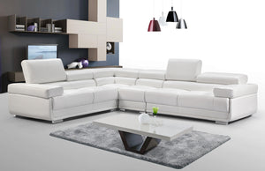 Modern Leather Sectional with Adjustable Headrests