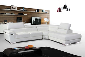 Deacon White Leather Sectional with Adjustable Headrests
