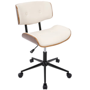 Loom Tufted Walnut Bent Wood Office Chair in Cream, Grey or Black
