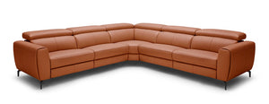 Lorene Leather Reclining Sectional in Rust