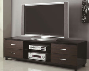 Caldwell High Gloss Black & Brown Contemporary TV Stand