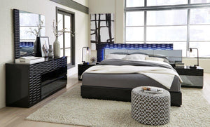 Mandy Black Bedroom Collection with LED Lighting