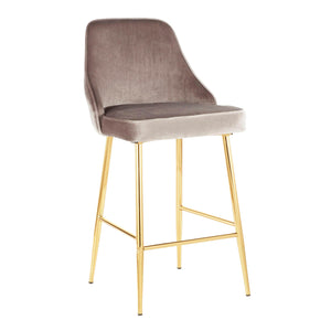 Marcellus Velvet Counter Stool with Gold Legs in 3 Color Options