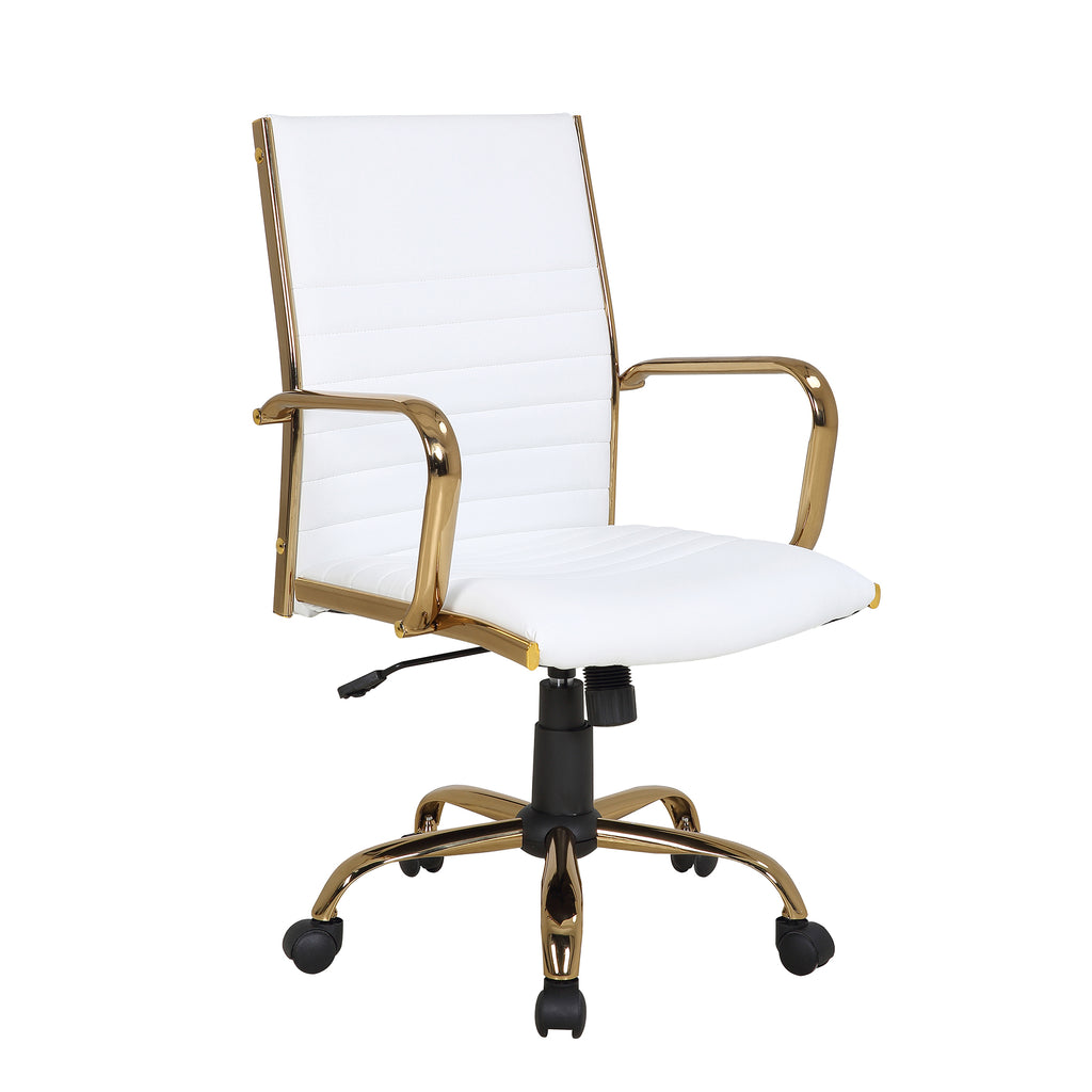 Marshall Arm Office Chair with Gold Frame in White or Black