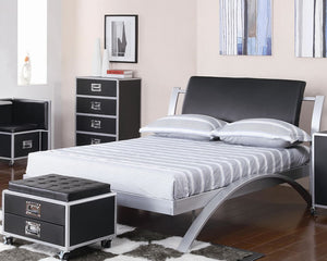 LeClair Modern Metal Platform Bed with Upholstered Headboard