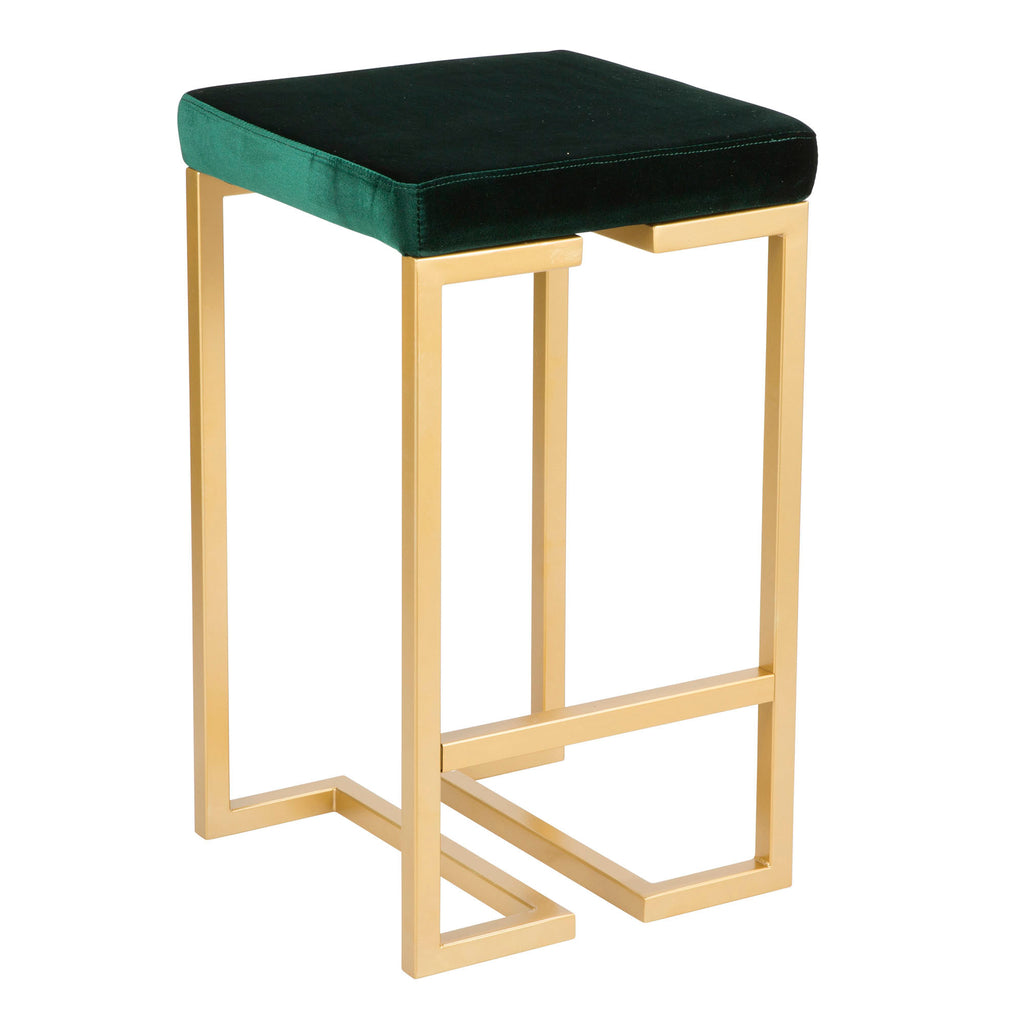 Mila Velvet Counter Stool in Green or Navy