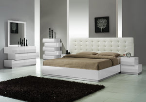 Mila Modern Platform Bed with Tufted Headboard in Black or White