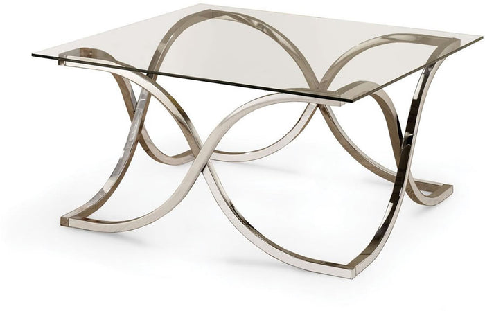 Cari Modern Glass Coffee Table with Curved X Base