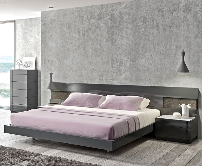 Branda Grey Modern Bedroom Collection with LED Lights