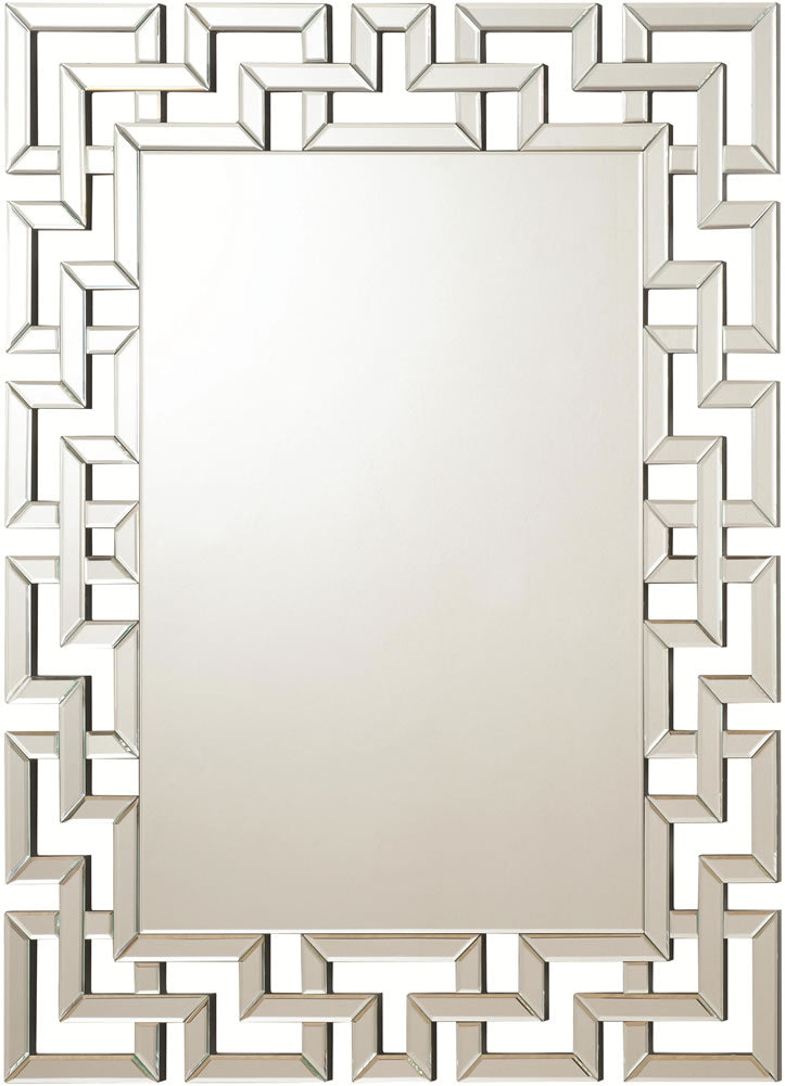 Modern Wall Mirror with Interlocking Greek Key Mirrored Frame