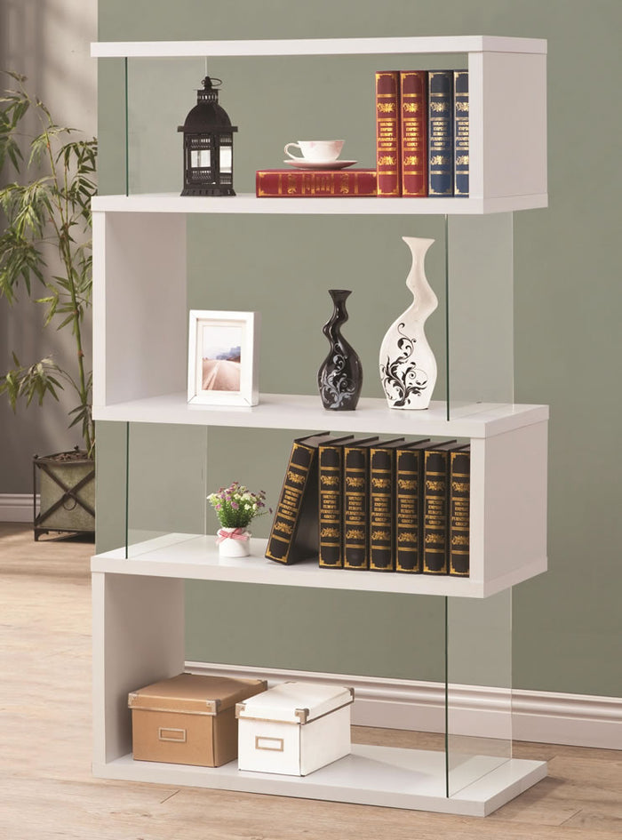 Modern White Wood & Glass Bookcase