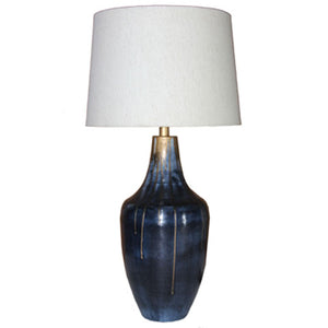 Distressed Indigo & Gold Metal Table Lamp