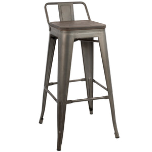 Ore Industrial Low Back Barstool in 3 Color Options