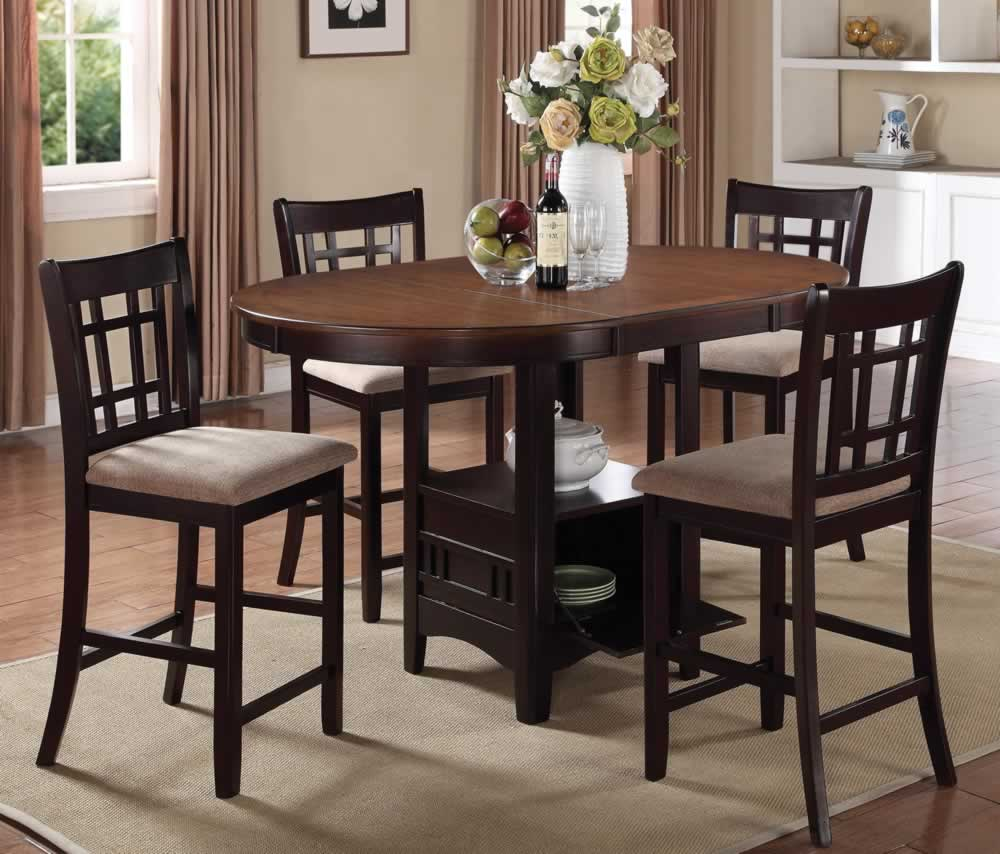 Hudson Counter Height Oval Dining Set with Storage Extension Table