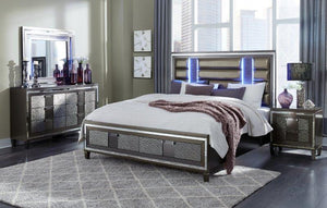 Piper Metallic Grey Storage Bedroom Collection