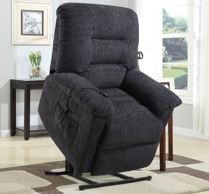 Power Lift Recliner in Dark Grey Chenille