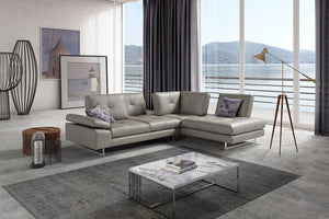 Prima Tufted Leather Sectional with Adjustable Backs