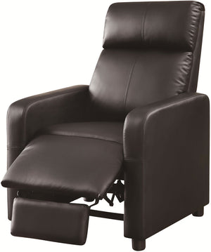 Toohey Push Back Recliner with Narrow Armrests in Black Leatherette
