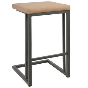 Roma Backless Counter Height Stool in Camel or Espresso