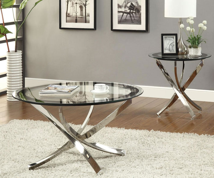 Round Clear Glass Coffee Table with Curved Nickel Base