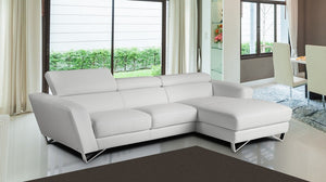 Sparta Apartment Size Italian Leather Sectional in Grey or White