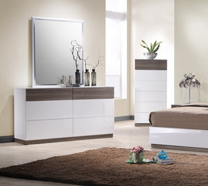 Reno Modern White and Walnut Bedroom Collection