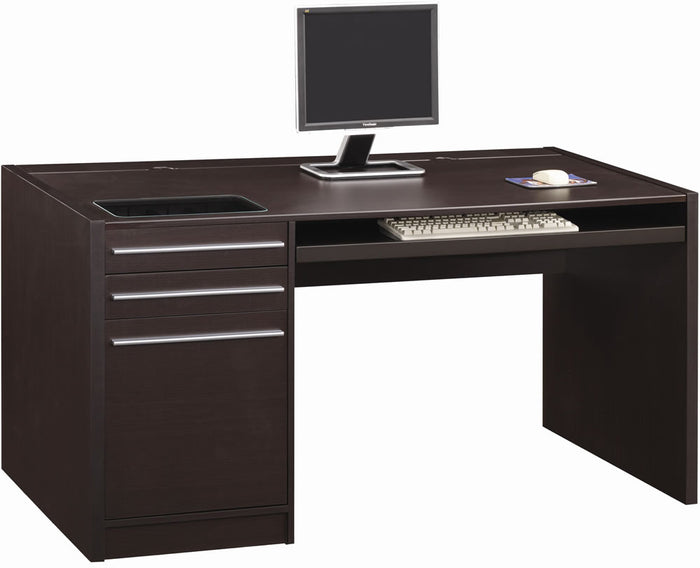 Casual Single Pedestal Desk with Built-in Power Strip
