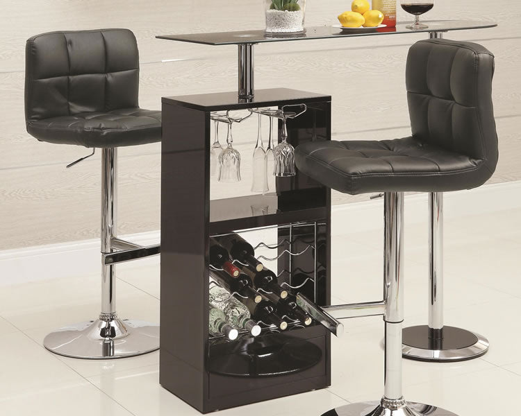 Skokie Small Modern Bar Table with Glass Top in Black or White
