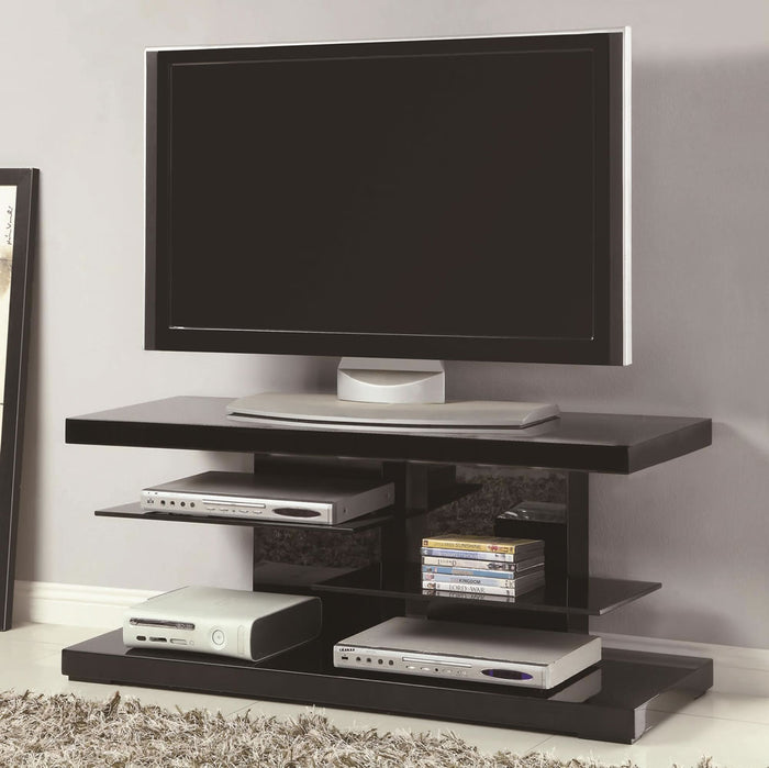 Small Modern TV Stand with Open Glass Shelves in White or Black