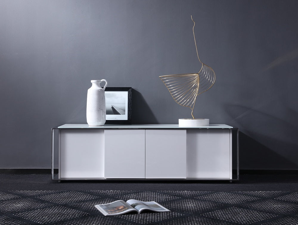Starla White TV Stand with White Glass Top